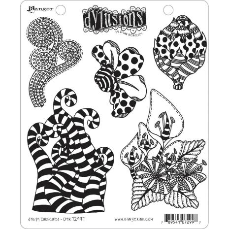 Dylusions Cling Stamps 8.5X7 - Stripy Curlicues