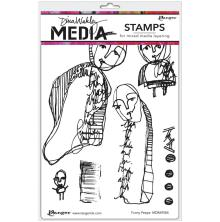 Dina Wakley Media Cling Stamps 6X9 - Funny Peeps