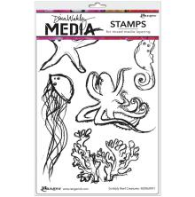 Dina Wakley Media Cling Stamps 6X9 - Scribbly Reef Creatures