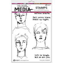 Dina Wakley Media Cling Stamps 6X9 - Strong Men