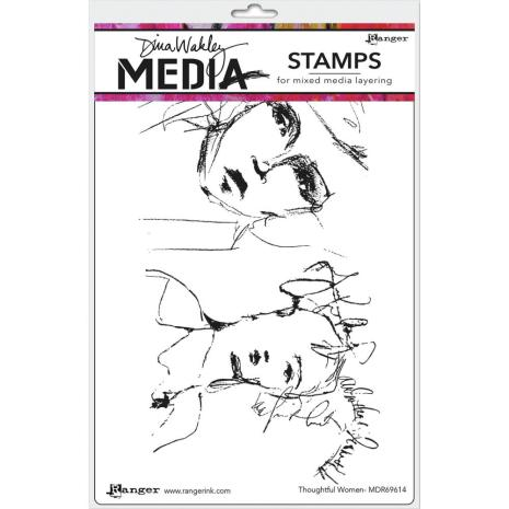 Dina Wakley Media Cling Stamps 6X9 - Thoughtful Women
