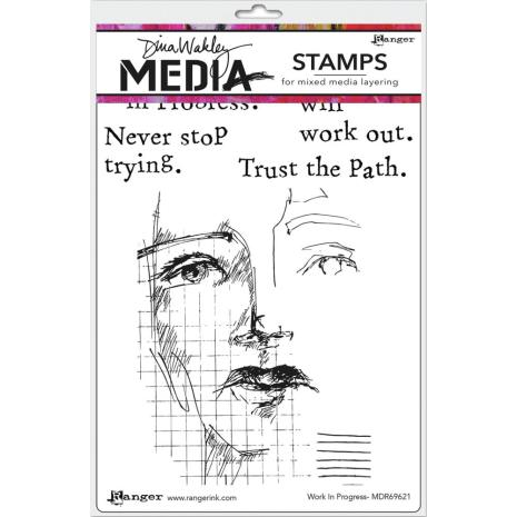 Dina Wakley Media Cling Stamps 6X9 - Work in Progress