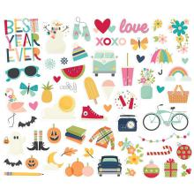 Simple Stories Bits & Pieces Die-Cuts 51/Pkg - Best Year Ever