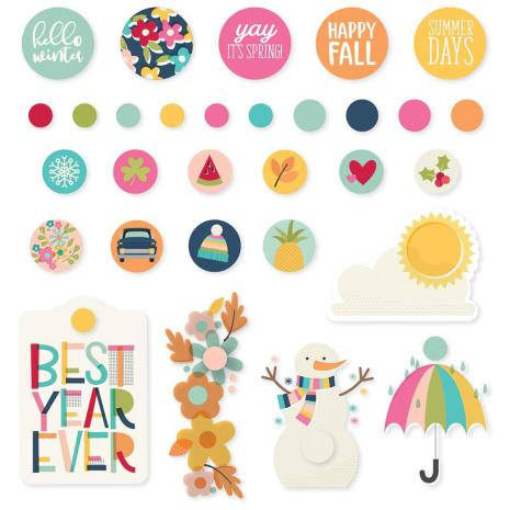 Simple Stories Decorative Metal Brads - Best Year Ever