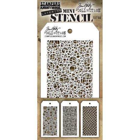 Tim Holtz Mini Layered Stencil Set 3/Pkg - Set #46