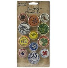 Tim Holtz Idea-Ology Metal Adornments 12/Pkg - Vintage Flair