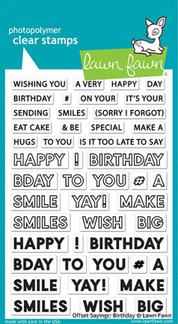 Lawn Fawn Clear Stamps 4X6 - Offset Sayings: Birthday