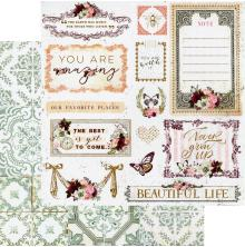 Prima Pretty Mosaic Double-Sided Cardstock 12X12 - Beautiful Life