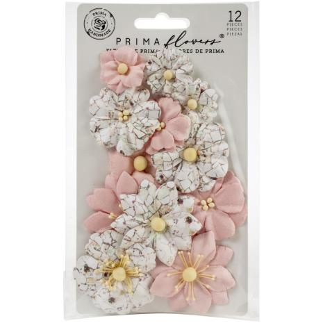 Prima Pretty Mosaic Mulberry Paper Flowers 12/Pkg - Cracked Marble