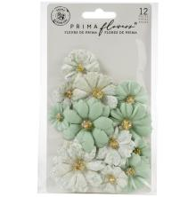 Prima Pretty Mosaic Mulberry Paper Flowers 12/Pkg - Jade