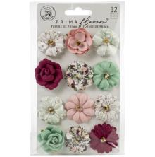 Prima Pretty Mosaic Mulberry Paper Flowers 12/Pkg - Turquoise