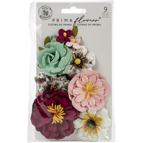 Prima Pretty Mosaic Mulberry Paper Flowers 9/Pkg - Emerald Dream