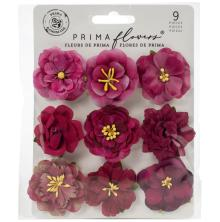 Prima Pretty Mosaic Mulberry Paper Flowers 9/Pkg - Opalite
