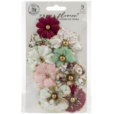 Prima Pretty Mosaic Mulberry Paper Flowers 9/Pkg - Serpentine