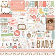 Echo Park Baby Girl Cardstock Stickers 12X12 - Elements