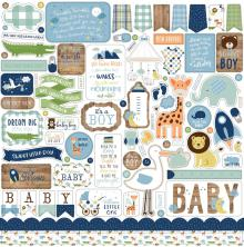 Echo Park Baby Boy Cardstock Stickers 12X12 - Elements