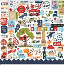 Echo Park All Boy Cardstock Stickers 12X12 - Elements