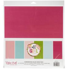 Echo Park Double-Sided Solid Cardstock 12X12 6/Pkg - All Girl