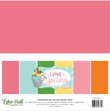 Echo Park Double-Sided Solid Cardstock 12X12 6/Pkg - I Love Spring