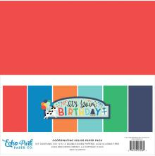 Echo Park Double-Sided Solid Cardstock 12X12 6/Pkg - It´s Your Birthday Boy