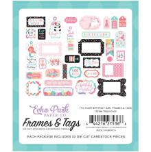 Echo Park It´s Your Birthday Girl Cardstock Die-Cuts 33/Pkg - Frames & Tags