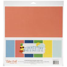 Echo Park Double-Sided Solid Cardstock 12X12 6/Pkg - Summertime