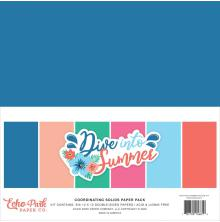 Echo Park Double-Sided Solid Cardstock 12X12 6/Pkg - Dive Into Summer