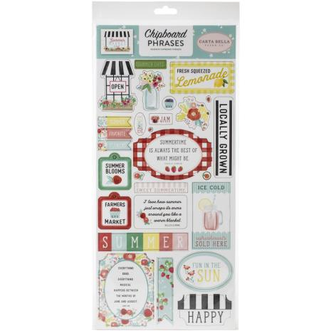 Carta Bella Summer Market Chipboard 6X13 - Phrases
