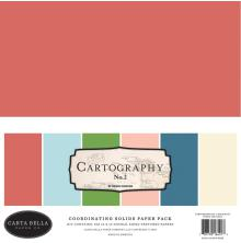 Carta Bella Double-Sided Solid Cardstock 12X12 6/Pkg - Cartography No. 3