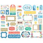 Echo Park Dive Into Summer Cardstock Die-Cuts 33/Pkg - Frames & Tags