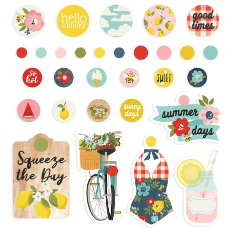 Simple Stories  Decorative Metal Brads 30/Pkg - Summer Farmhouse