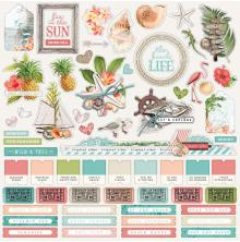 Simple Stories Simple Vintage Coastal Sticker Sheet 12X12 - Combo