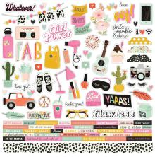 Simple Stories Kate & Ash Cardstock Stickers 12X12 - Combo