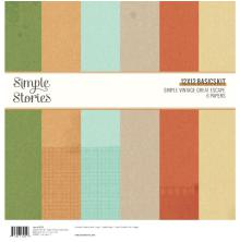 Simple Stories Basics Double-Sided Paper Pack 12X12 6/Pkg - Simple Vintage Great