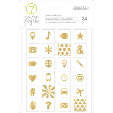 Seven Paper Amelia Foil Stickers 4X5 - Gold Icons UTGÅENDE