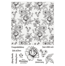 Crafters Companion Large Background Stamp - Oriental Peony