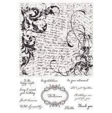 Crafters Companion Large Background Stamp - Script Collage