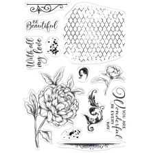 Crafters Companion Collage Stamps - Beautiful Peony