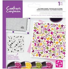 Crafters Companion Background Rotation Stamp - Flutterby Wishes